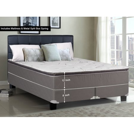 WAYTON, 12-inch Fully Assembled Soft Pillow Top Innerspring Mattress and Split Metal Box Spring/foundation set, |King Size| Mink & White Color ()