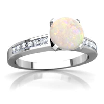 Opal Channel Set Ring in 14K White Gold by