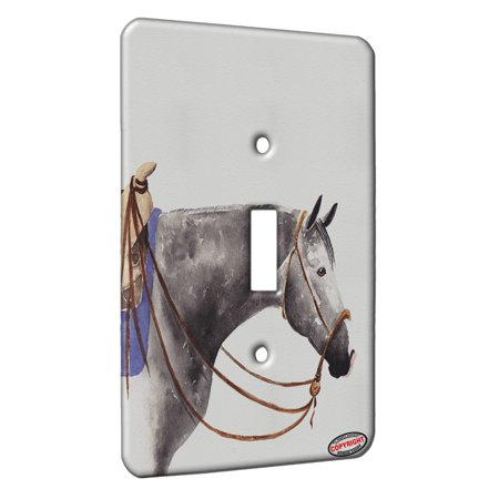 KuzmarK™ Single Gang Toggle Switch Wall Plate - Dappled Gray Quarter Horse Art by Denise Every ()