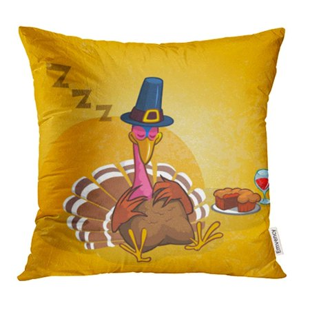 BSDHOME Sleeping Turkey After Good Meal with Pie and Glass of Red Vine Thanksgiving Cartoon Pillow Case Pillow Cover 18x18 inch Throw Pillow Covers - image 1 of 1