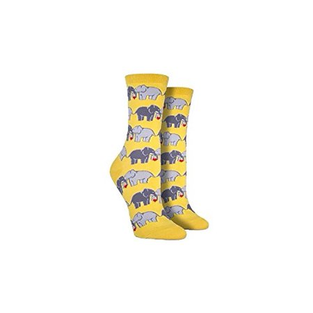 socksmith women's socks elephant love crew buttercup 1pair, (sock size 9-11 fits shoe size