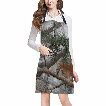 ASHLEIGH Cool Military Camouflage Camo Tree Branches and Leaves Unisex Adjustable Bib Apron for Women Men Girls Chef for Cooking Baking Gardening
