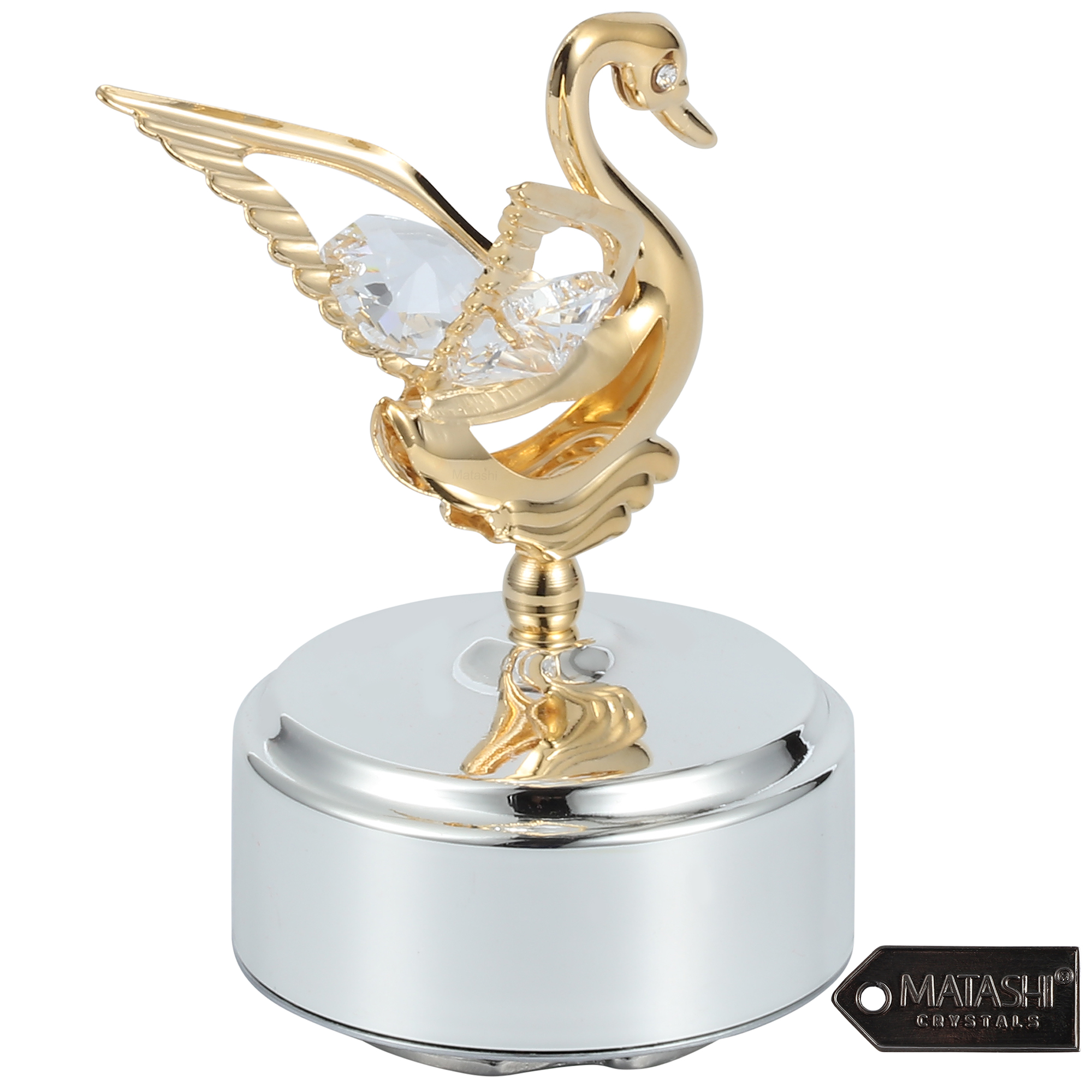 Matashi 24k Gold Plated Music Box With Crystal Studded Swan Figurine Swan Lake Walmart Com Walmart Com