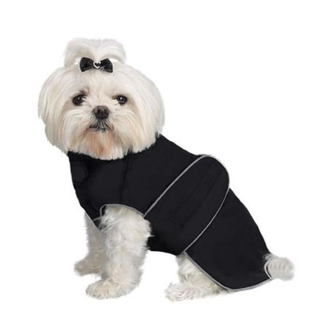 A Pets World 08192999-24 Weatherproof Fleece Lined Dog coat Black