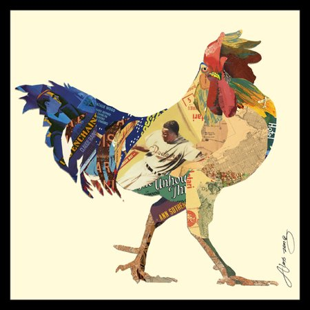 (Empire Art Direct Rooster Dimensional Collage Hand Signed by Alex Zeng Framed Graphic Art)