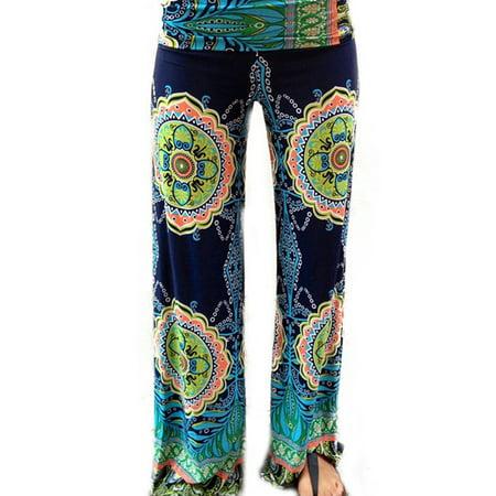 Women's Floral Loose Boho Harem Wide Leg Palazzo Yoga Leisure Pants ()