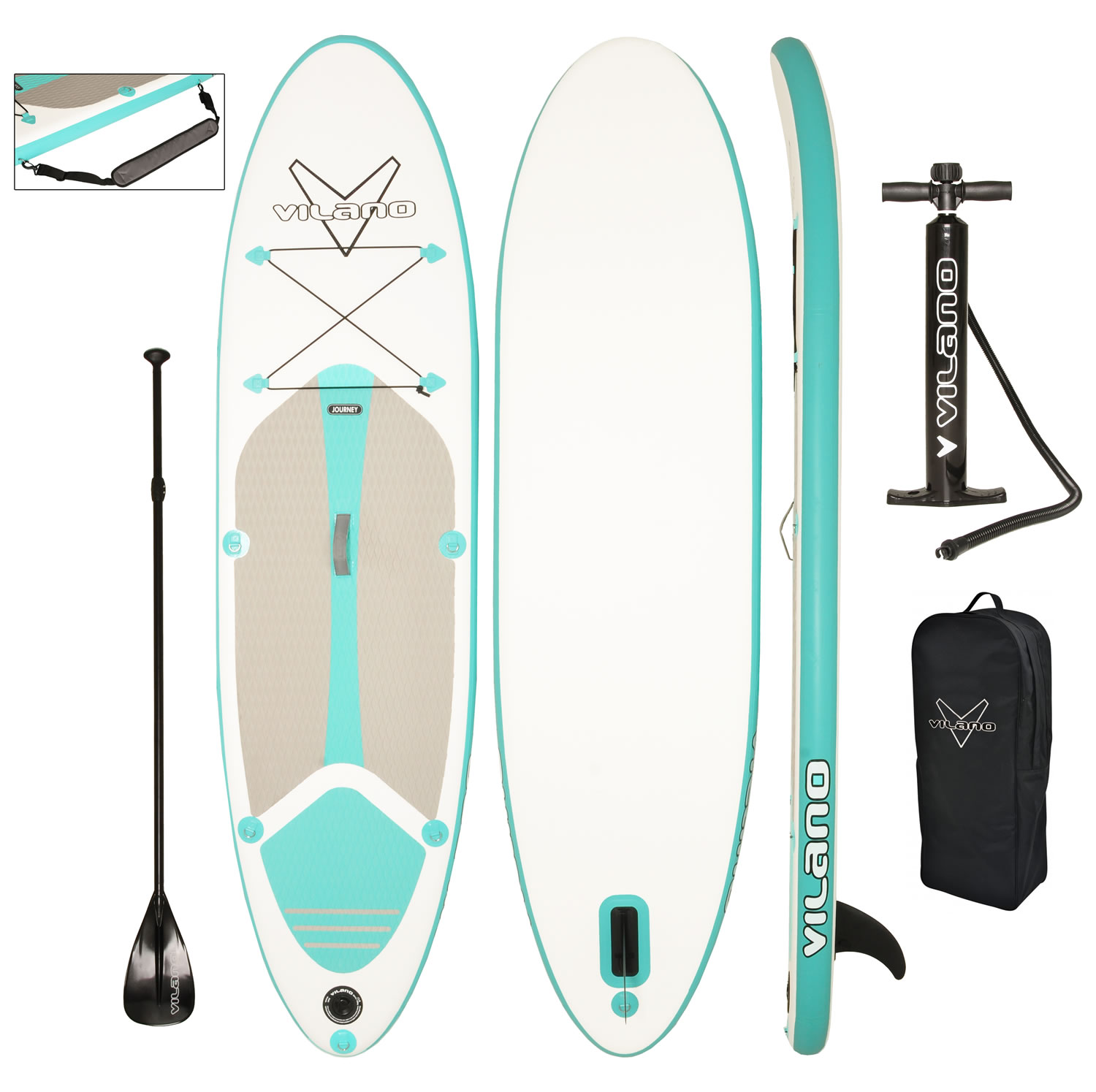 Vilano Journey Inflatable SUP Stand up Paddle Board Kit by