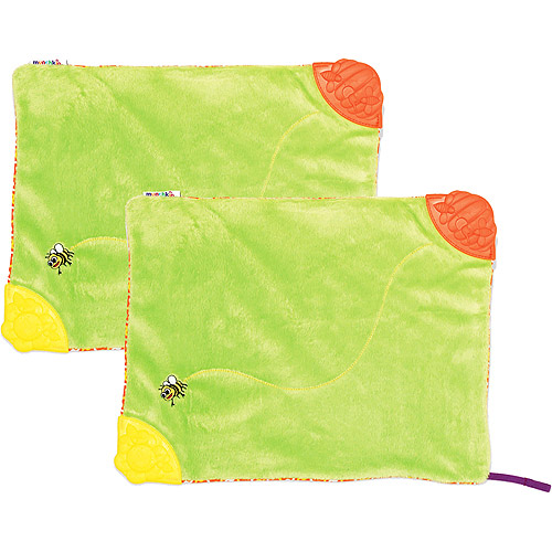 Munchkin - Teething Blanket with Pacifier Attachment, 2-Pack