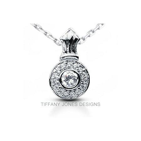 0.98ct E-SI1 Exc Round AGI Natural Diamonds 18k Gold Bezel Set Halo Pendant (Tiffany Jewellery Designs)