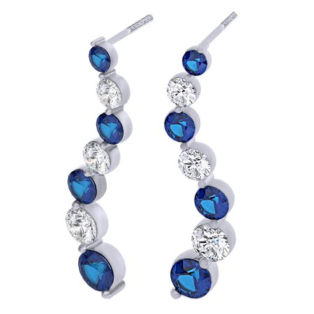 Round Cut Simulated Blue Sapphire With 0.20 Ct Natural Diamond Journey Earrings In 18K Solid White Gold