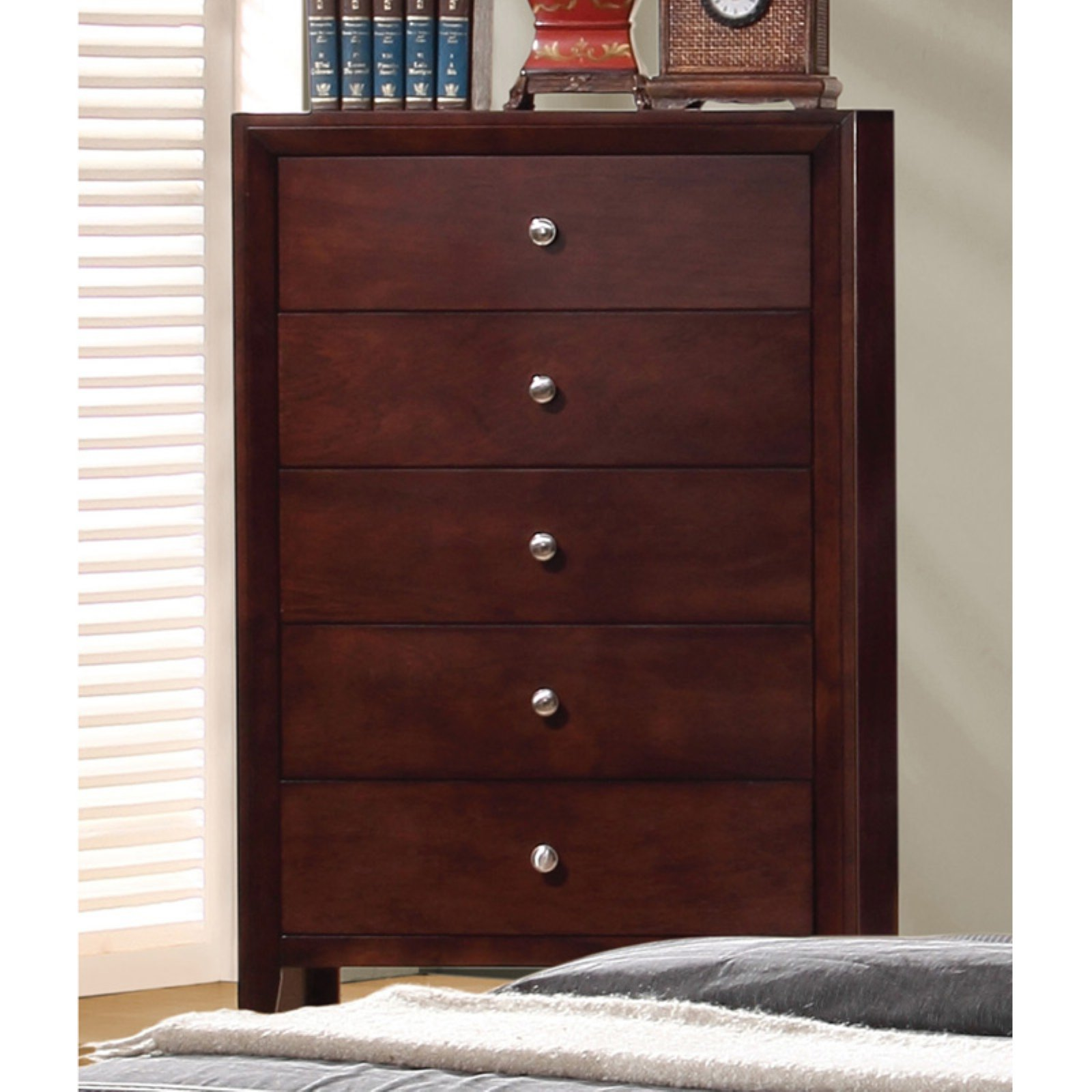 Coaster Company Serenity Collection 5 Drawer Chest, Merlot
