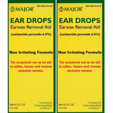Ear Drops Earwax Removal Aid Carbamide Peroxide 6.5% Generic for Debrox - 0.5 oz. (15 ml) Per Bottle Pack of 2 Total 1 oz., Carbamide Peroxide.., By Major