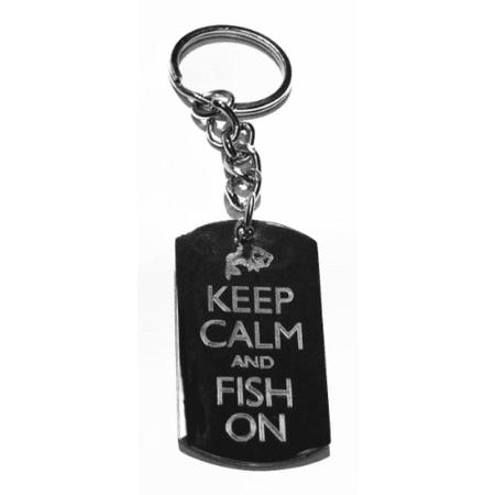 Keep Calm & Fish On Fisherman Bass Fish - Metal Ring Key Chain Keychain