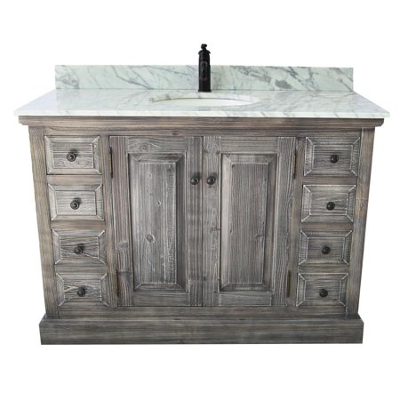 """48"""" Rustic Solid Fir Single Sink Vanity In Grey-Driftwood With Carrara White Marble Top-No Faucet"""