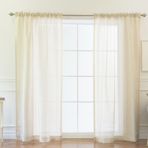 Best Home Fashion, Inc. Venice Damask Sheer Rod Pocket Curtain Panels (Set of 2)