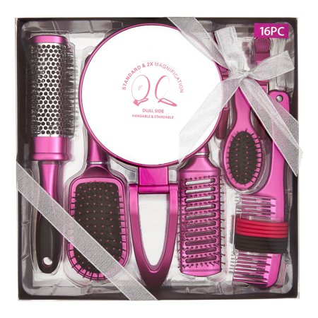 (Hair Brush Styling Set with Magnifying Mirror, 16 pieces ($22 Value))