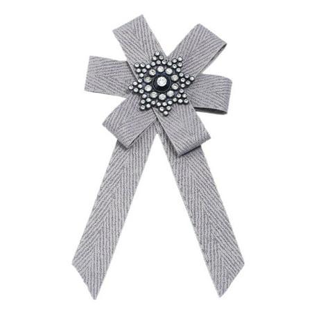 Corsage Bow (Woman Stylish Exquisite Diamond Cloth Art Bow Corsage Creative Unique Tie Birthday)