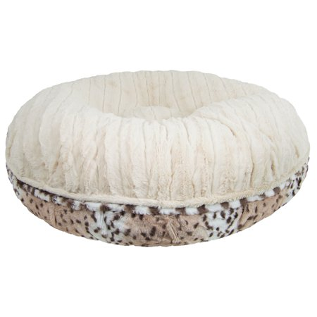 Bessie and Barnie  Signature Aspen Snow Leopard/ Natural Beauty Luxury Extra Plush Faux Fur Bagel Pet / Dog Bed