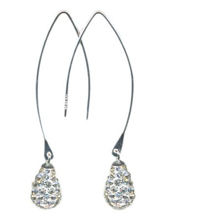 Pearl Sterling Silver Threader Earrings (Pave-Set White Crystal Accent Sterling Silver Threader Earrings )