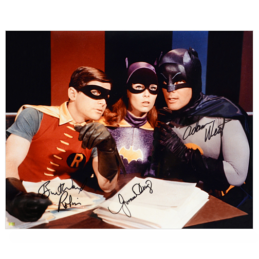 Adam West, Burt Ward and Yvonne Craig Autographed Batman 16?20 Master Plan Photo