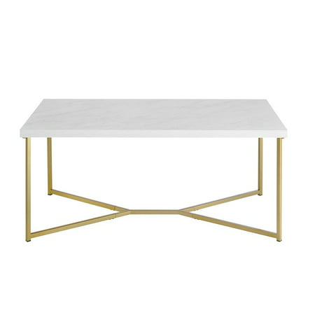 Rectangle Coffee Table with White Faux-Marble Top and Gold (Modern Marble Coffee Table)