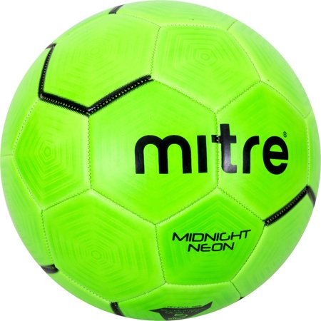 Mitre Midnight Neon Green rubber performance soccerball, size - Plush Soccer Ball