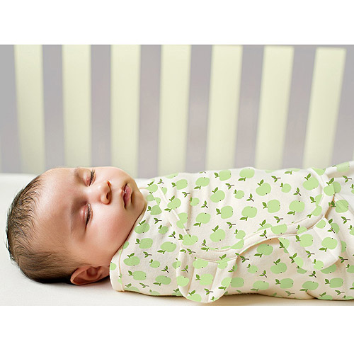 Summer Infant SwaddleMe Organic Adjustable Infant Wrap, 7-14 Lbs, Small-Medium, Apple and Ivory