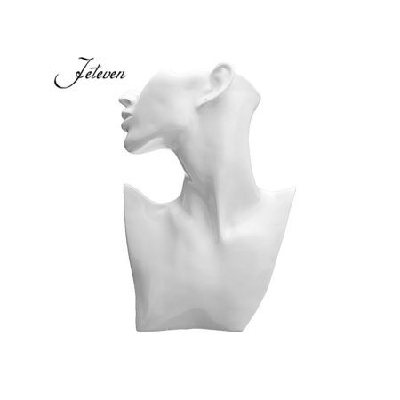 Mannequin Necklace Holder (Necklace Display  Earrings Jewelry Stand Organizer Holder White Resin Half Body Mannequin Show Decorate )