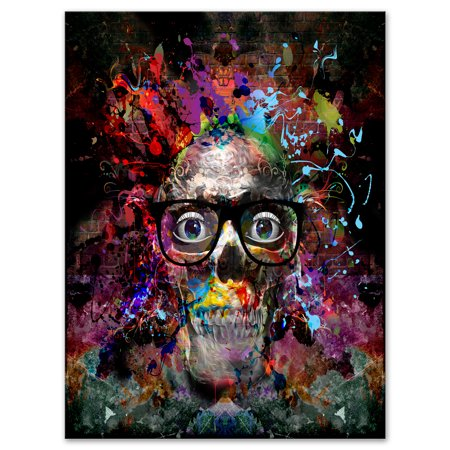 Colorful Human Skull with Glasses - Abstract Wall Art Canvas - image 1 de 3