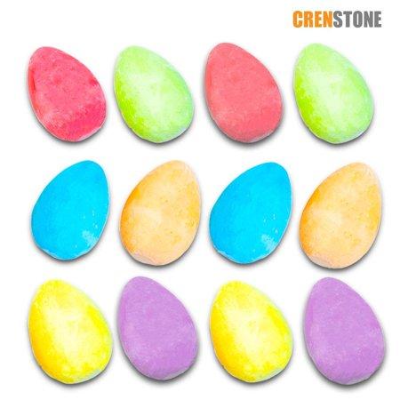 Crenstone Easter Egg Chalk Set for Kids Toddlers -- 12 Chalk Eggs, Spring Colors (Easter Egg Hunt Supplies Toys) (Easter Egg Colors)