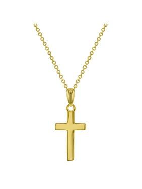 "925 Sterling Silver High Polish Plain Cross Pendant Necklace Unisex Children 17"""