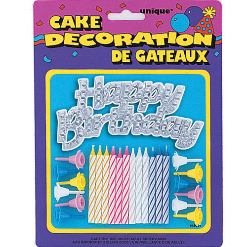 Birthday Candles and Happy Birthday Cake Topper, Assorted, 25pc