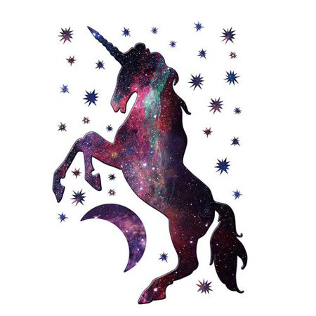 AkoaDa Cartoon Cute Magic Unicorn Stars Moon Galaxy Wall Sticker for Kids Girls Rooms Nursery Wallpaper Home Decor Wall