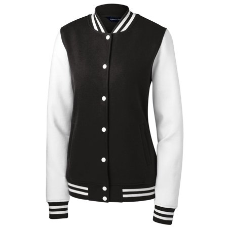 Twill Letterman Jacket (Sport Tek Women's Comfortable Fleece Letterman Jacket)