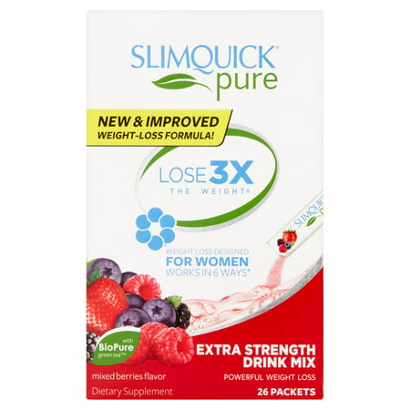 Slimquick Pure Mixed Berries Flavor Women's Weight Loss Extra Strength Drink Mix Packets, 26 count
