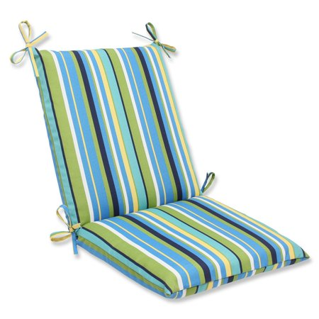 "36.5"" Strisce Luminose Blue, Green and Yellow Striped Outdoor Patio Chair Cushion"