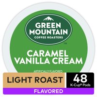 Green Mountain Coffee Caramel Vanilla Cream Flavored K-Cup Pods, Light Roast, 48 Count for Keurig Brewers