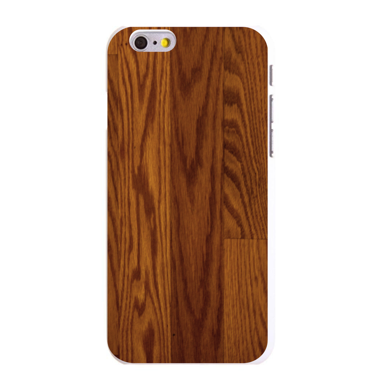 "CUSTOM White Hard Plastic Snap-On Case for Apple iPhone 6 PLUS / 6S PLUS (5.5"" Screen) - Dark Wood Floor Print"