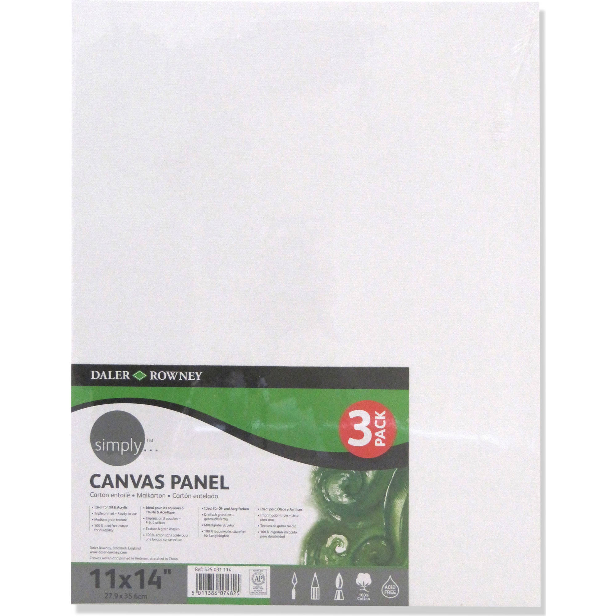 "Simply Canvas Panels, 11"" x 14"", 3 pk"