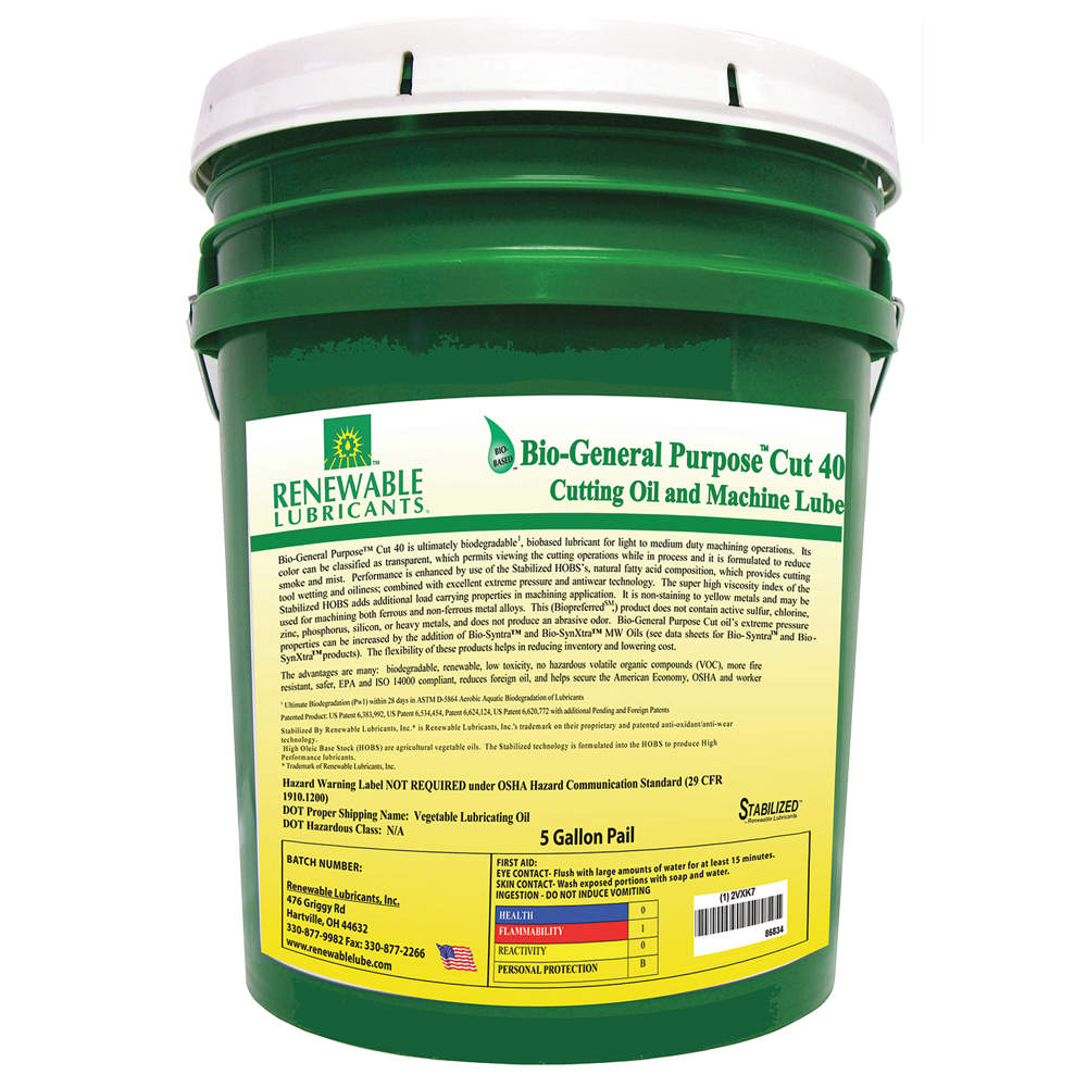 RENEWABLE LUBRICANTS Cutting Oil, 5 gal, Bucket 86834