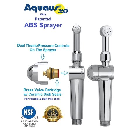 Aquaus 360 Premium Bidet Spray Wand (Sprayer Only) Dual Thumb Controls on the Sprayer for Super EZ Spray Pressure Control - Brass Valve Core w/ Ceramic Disk Seals - NSF Certified