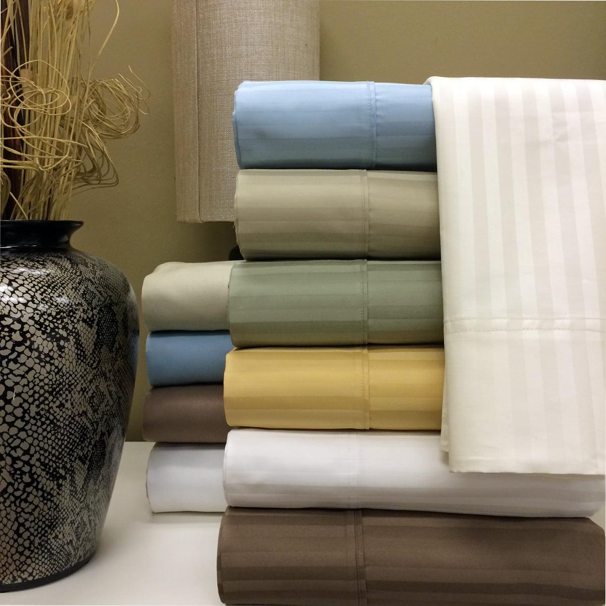 1000 Thread Count Sheets, Damask Stripe 100% Long Staple Cotton Sateen Deep Pocket Sheet Set - Queen - White