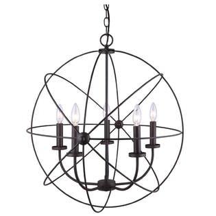 2 PCS Chandelier 5 Light Orb Sphere Hanging Ceiling Pendant Globe Oil Rubbed Bronze