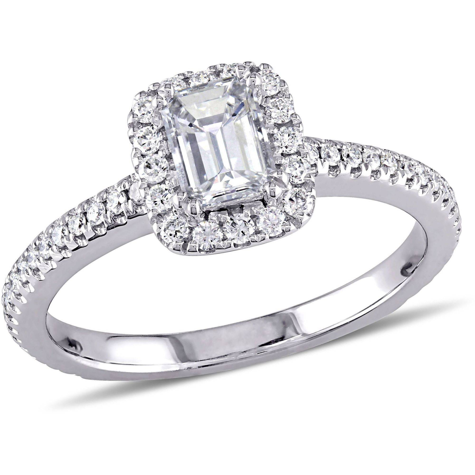 Miabella 7/8 Carat T.W. Emerald and Round-Cut Diamond 14kt White Gold Halo Engagement Ring