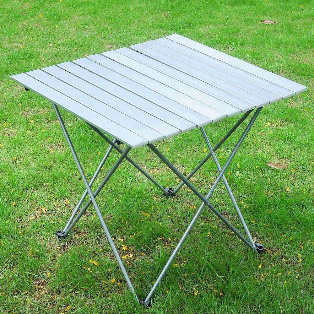 """Heavy Duty 27.5"""" Portable Aluminum Roll Up Table Folding Camping Table W-type Brackets Garden Camping Picnic Table... by"""