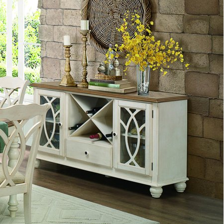 (Server in Natural and Antique White Finish)
