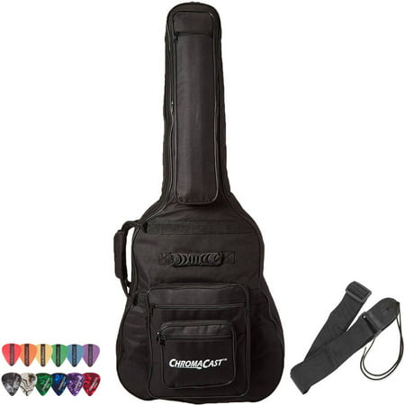 ChromaCast Acoustic Guitar Soft Case, Padded Gig Bag, Includes Strap & Picks Hybrid Acoustic Guitar Bag