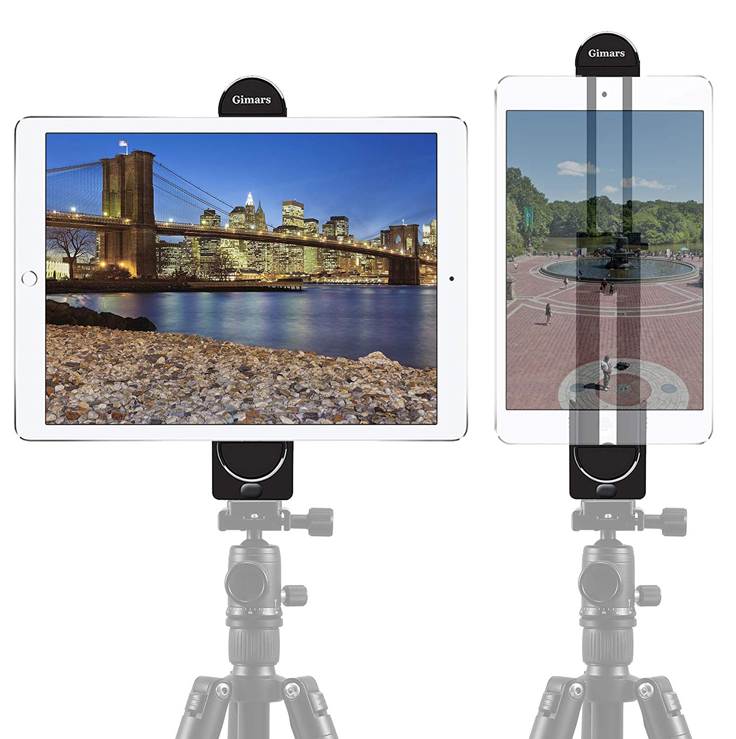 """Gimars Adjustable Tablet Clamp Holder 2-in-1 Universal Phone iPad Tripod Mount Adapter fit for iPhone  Motorola Xoom,Samsung Galaxy Tab,BlackBerry Playbook,Barnes and Noble Nook,5""""-12"""" Screen"""