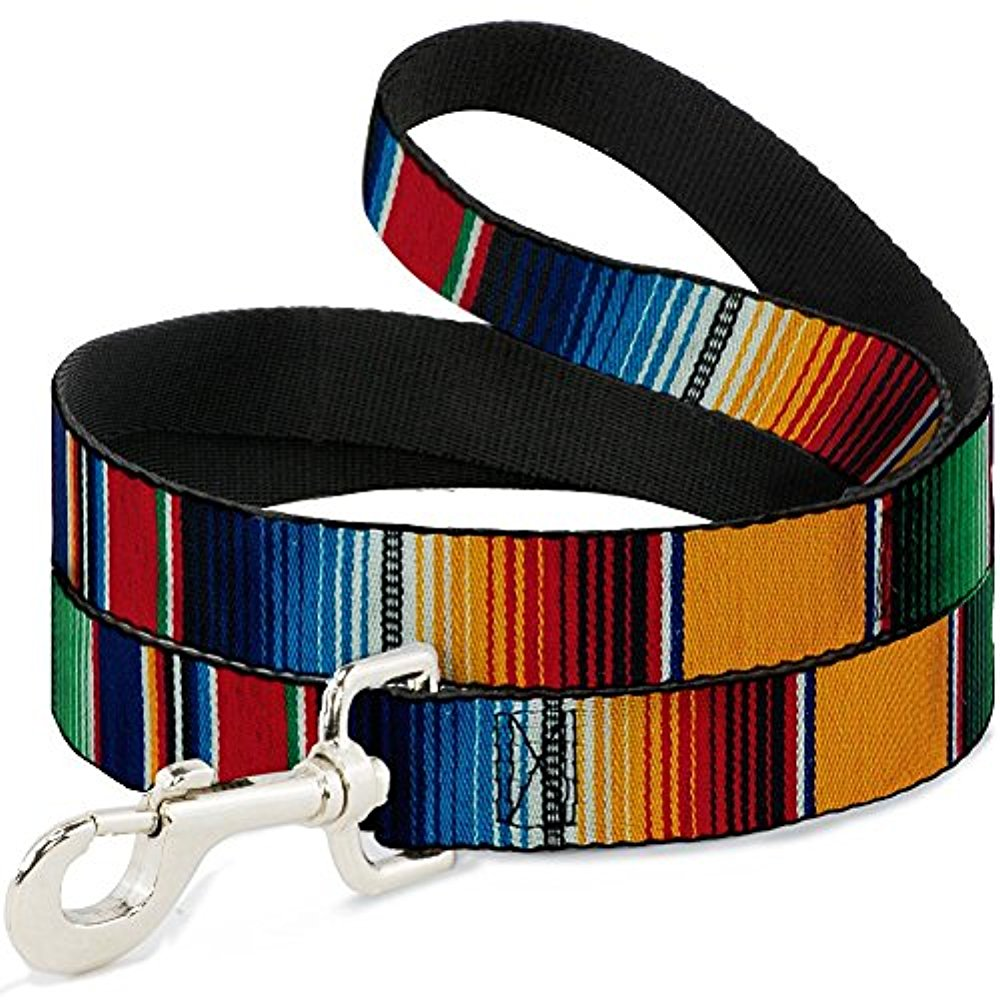"Buckle-Down ""Zarape2 Vertical Multi Color Stripe"" Dog Leash"
