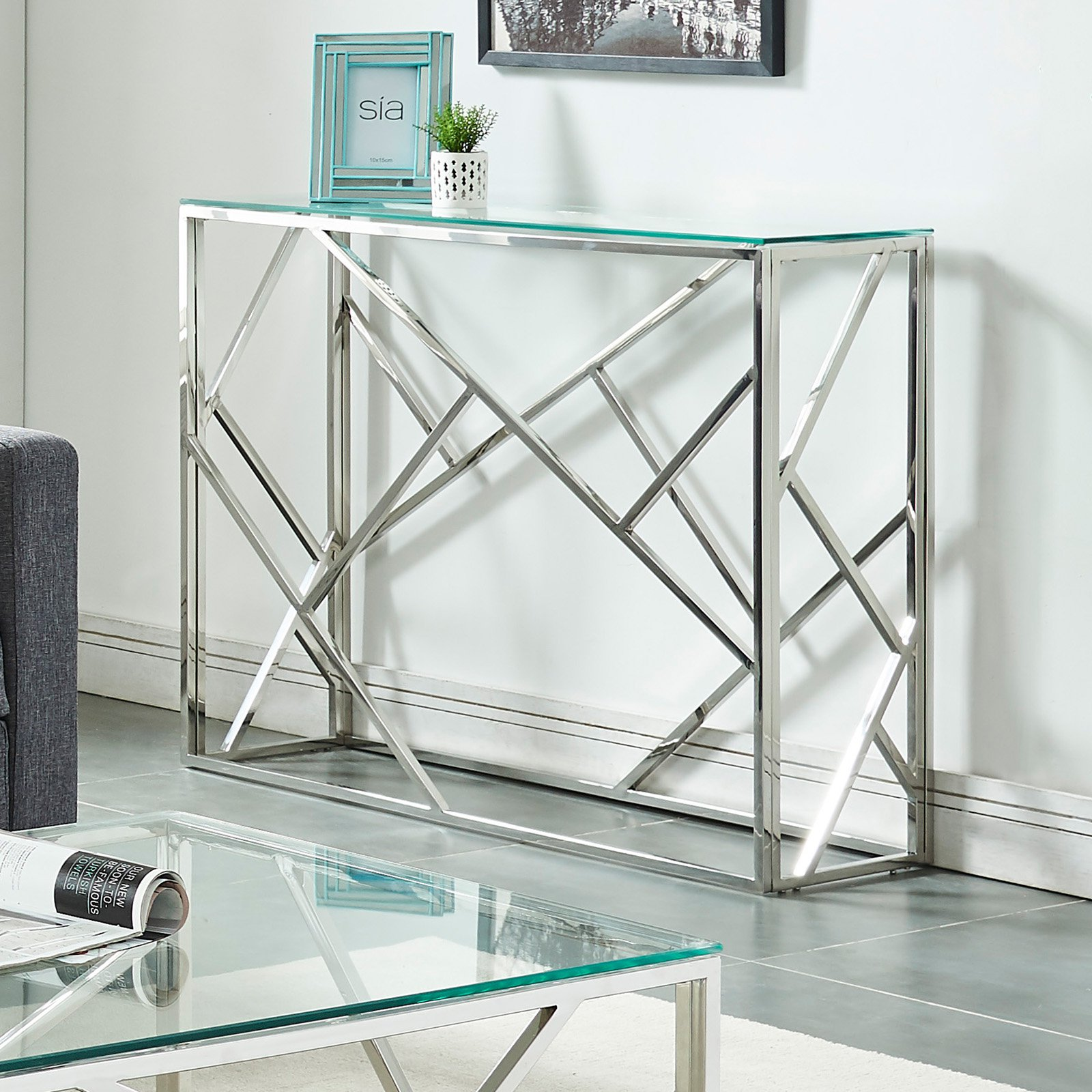 !nspire Stainless Steel Line Design Console Table